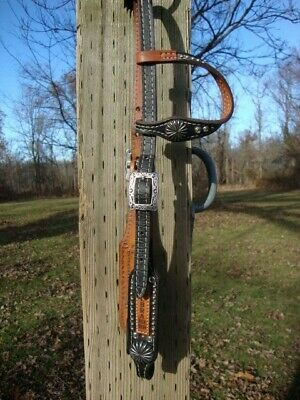 Western TROPHY Two Tone Leather One Ear Style Headstall Used