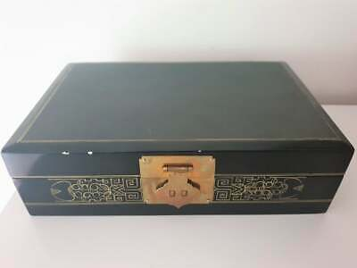 Chinese Vintage Black Jewellery box Large with a small mirror