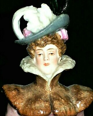 Antique German Dresden Victorian Beautiful Lady Skater & Muff Porcelain Figurine