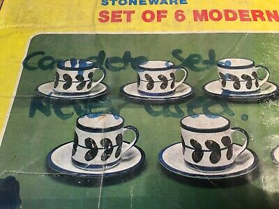 BRT 1970's Vintage Japan Stoneware Pottery Coffee Cup & Saucer Set 12 Piece