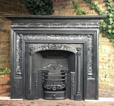 Fireplace Victorian Coalbrookdale cast iron fire surround , Log Burner Surround