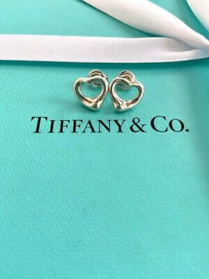 Authentic Tiffany & Co Silver Elsa Peretti Open Heart Mini Earrings
