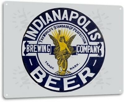 Indianapolis Brewing Beer Logo Retro Bar Pub Man Cave Wall Decor Metal Tin Sign
