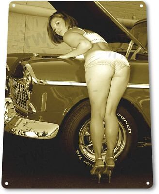 TIN SIGN B174 Major Adjustment Tin Metal Sign Pin-up Girl Auto Shop Garage