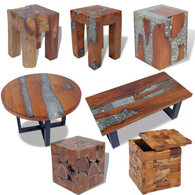 Solid Teak Stool Side End Coffee Table Storage Vintage Small Nightstand Home