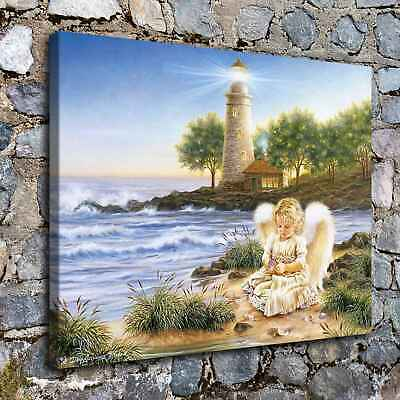 "16""x22""Little angel is playing with shells HD Canvas Prints Home Decor Wall art"