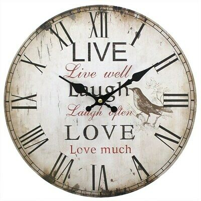LIVE LAUGH LOVE Wooden Wall Clock Battery Rustic Shabby Chic Vintage gift 34cm
