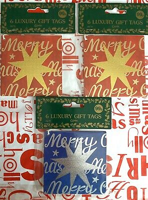 """Selection of Christmas Gift Tags """"18 Tags"""" Star Design & Shapes """"NEW"""""""