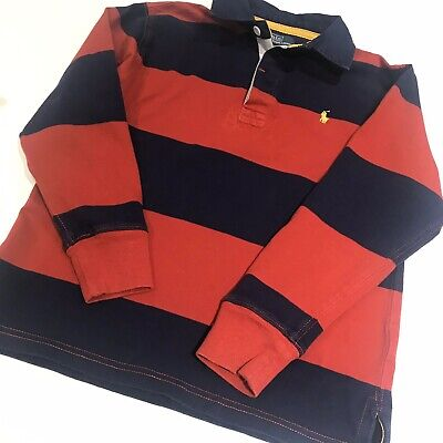 Polo by Ralph Lauren Boys Blue Red Striped Cotton Jersey Rugby Top Long Sleeve S