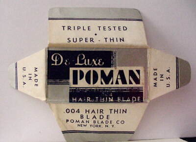 Vintage POMAN DELUXE HAIR THIN   DE Safety Razor Blade