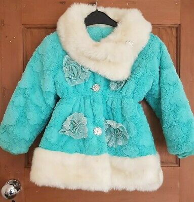 Girls Stunning Very Warm occasion party Winter Coat Mint Green