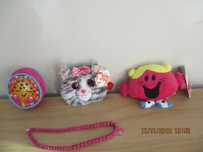 Shopkins Bead Necklace & Purse. Ty Beanie Purse.little Miss Soft Toy. All New