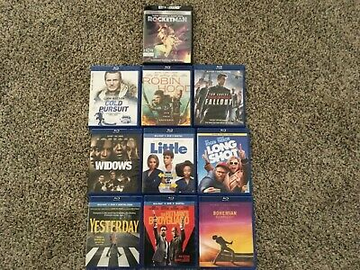 LOT OF 10 current must see movie 9 BLU-RAY/DVD 1 4K title  NEVER used NO CODES