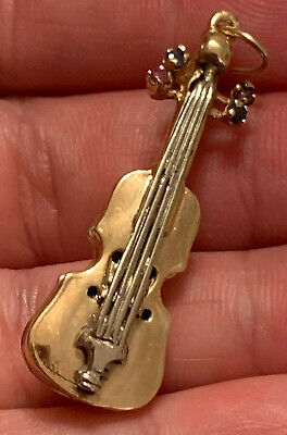 14 kt Solid Yellow Gold Violin Musical Instrument Charm Pendant Pin 5.9grams