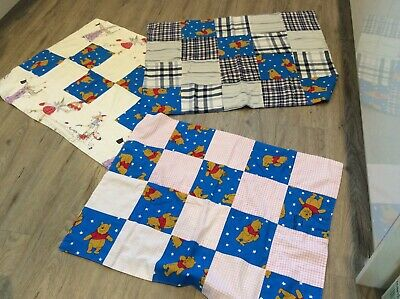 Set of 3 patchwork baby blankets fully lined VGC