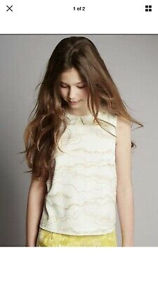 Stunning Marks And Spencer Autograph Girls Ivory And Gold Top Age 13-14