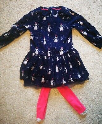 M&S Toddler girls penguin Christmas party dress and tights set, aged 2-3 years.