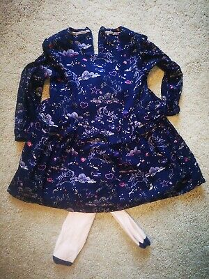 M&S girls Unicorn Christmas party dress and tights set, aged 3-4 years.