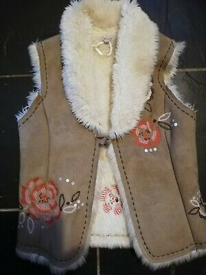 MONSOON GIRLS SUEDE furr EFFECT body warmer jacket GILLET AGED 8 9 10 YEARS