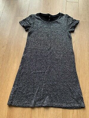Next - Girls Black & Silver Short Sleeved Dress Age 8