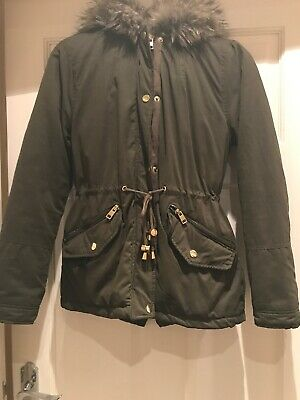 Ladies Girls Coat Size 10 Khaki Green, Warm Padded