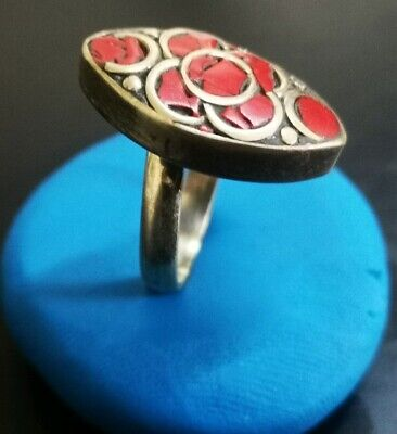 ANCIENT MEDIEVAL SILVER RING - RED STONE 6.47gr