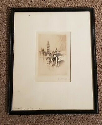 Antique framed etching by Arthur L Cherry Westminster Big Ben London Clock Tower