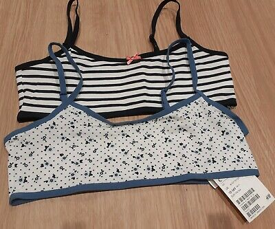 bnwt H&M GIRLS CROPPED CAMI VEST TOPS 2 PACK AGE 12/14 YEARS NAVY WHITE COTTON