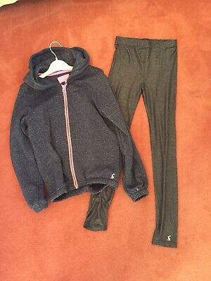 JOules Hoody And Matching Leggings Age 9-10 - Girls Navy Blue With Silver Stripe