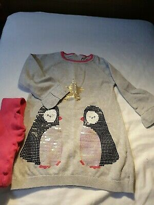 Marks And Spencer Girls Winter  Christmas  Dress And Matching  Tights 18-24