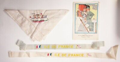 Lot of Antique Boat Items Battleship Maine 1930 French Steamship Menu Ribbons