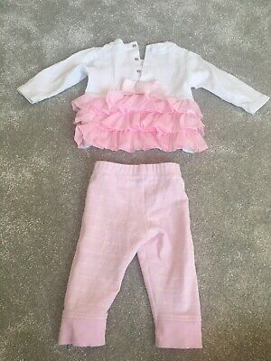 tutto piccolo baby Girl Dress Top And Trouser Set Pink White 12 Months Winter