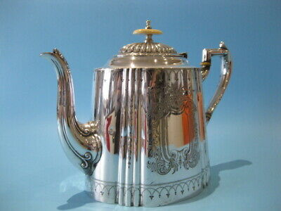 Beautiful Large Ornate Antique Silver Plated Hand-Engraved Victorian Oval Teapot