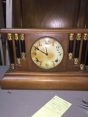 Antique gilbert 8 day time and strike with half hour bell mantle clock