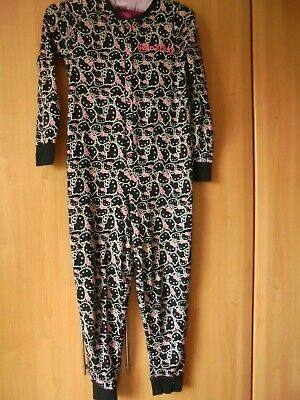 Hello Kitty M&S Onepiece Sleepsuit Age 9-10 Black & Pink Vgc