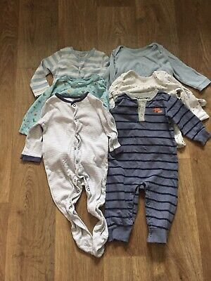 Bundle of baby boys sleepsuits (x 5) aged 9-12 months