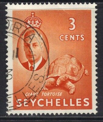 Seychelles 1952 KGV1 3ct Orange SG 159 used ( J1103 )