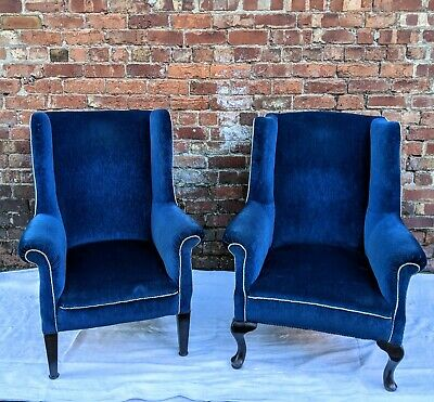 Antique Large Wingback Armchair In Deep Blue Velvet * 2nd Chair Available