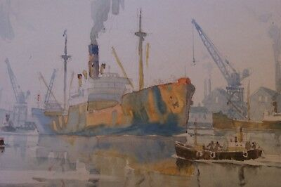An Original Late 20thC Watercolour Painting, A Freighter in Port by Stuart Beck