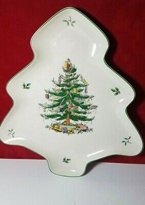 Spode Christmas China Tree Shaped Plate Small Dessert  Platter New w Tag 14 inch
