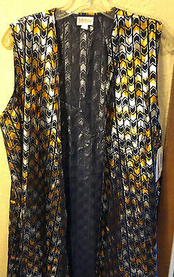 NWT LuLaRoe Large Navy Blue Silver Gold Bronze Metallic Elegant Joy Duster Vest