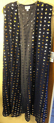 NWT LuLaRoe XL Navy Blue Silver Gold Bronze Metallic Elegant Joy Duster Vest