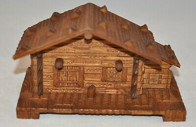 Rare large Antique Black Forest Chalet Ink Well &  Stamp Box w. two glass insert