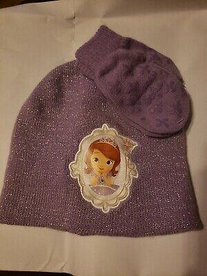 NWOT-Girls Disney Princess Sofia  Winter Hat and Gloves Set