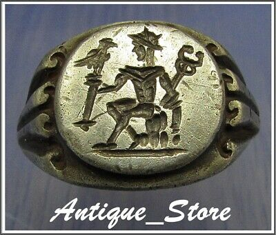 ** MERCURY holding EAGLE ** Ancient Legionary Silver Roman Ring **RARE**