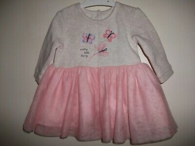 Baby Girls Pink & Grey Long Sleeved Embroidered & Netted Dress - Age 0-3 Months