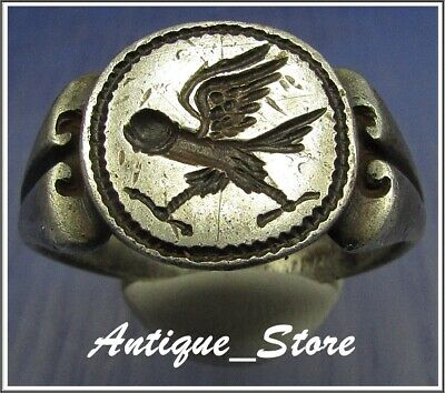 **WOW** PHALLUS - EAGLE ** Ancient Legionary Silver Greek Roman Ring **AMAZING**