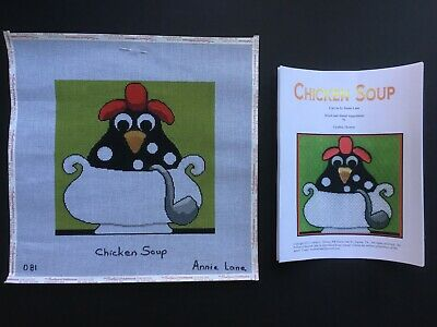 "Annie Lane Hand-painted Needlepoint Canvas Bright & Colorful ""Chicken Soup""/SG"