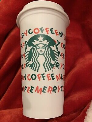 Starbucks 2019 Reusable Holiday Hot Cold Cup 16oz Merry Coffee ~ NEW!