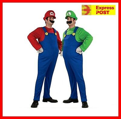 Adult Super Mario Brothers Mario Luigi Costume Fancy Dress Party Plumber
